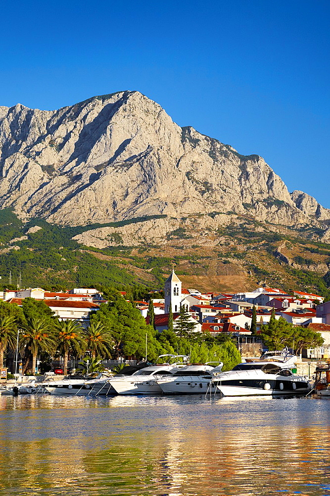 Croatia, Makarska Riviera, harbor in the Baska Voda village, Dalmatia, Croatia.