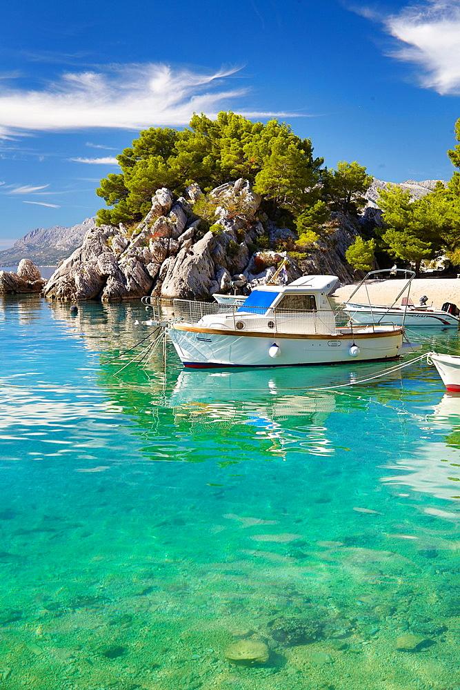 Croatia, Makarska Riviera, beach near Brela Village, Dalmacia, Croatia.