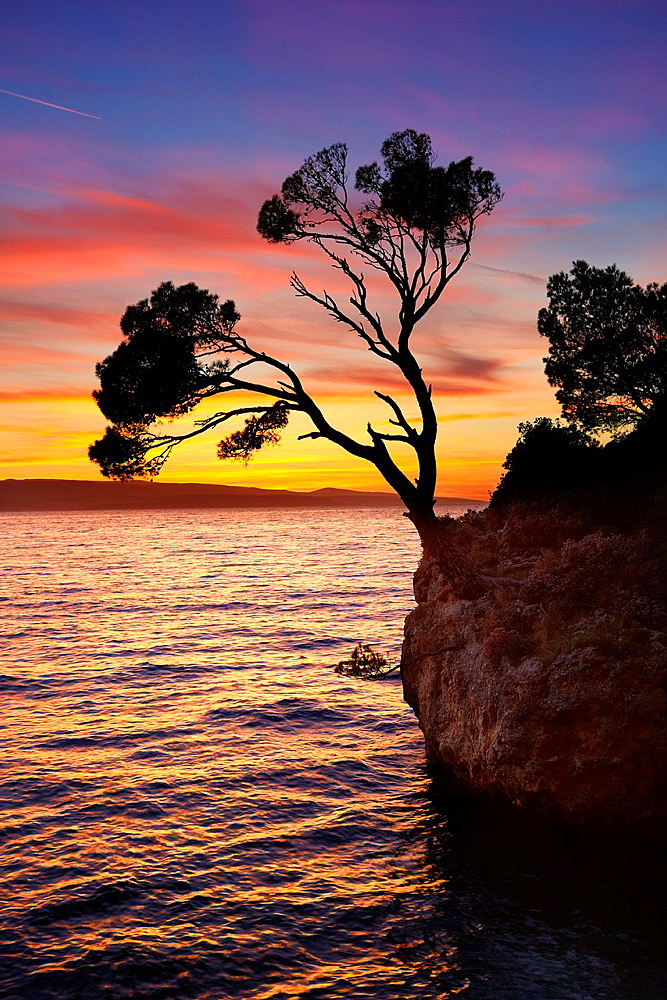 Croatia, Makarska Riviera Coast, Brela Stone on the beach, landscape at sunset time, Dalmatia, Croatia.