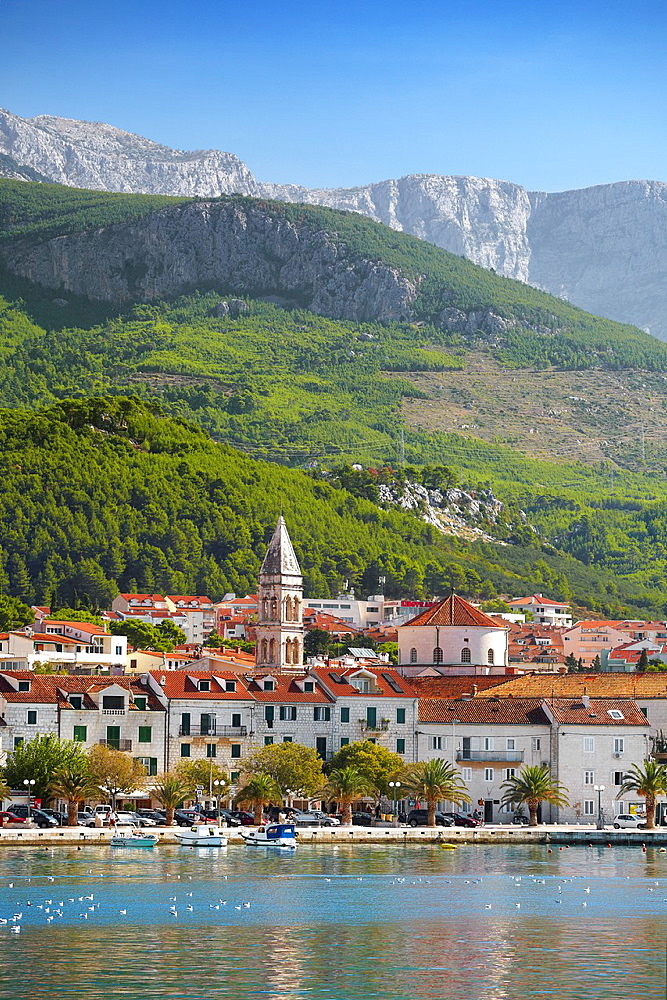 Croatia, Makarska Riviera, seafront view to Makarska Village, Dalmatia, Croatia.