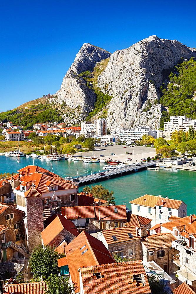 Croatia, Makarska Riviera, aerial view of Omis Village, Dalmatia, Croatia.