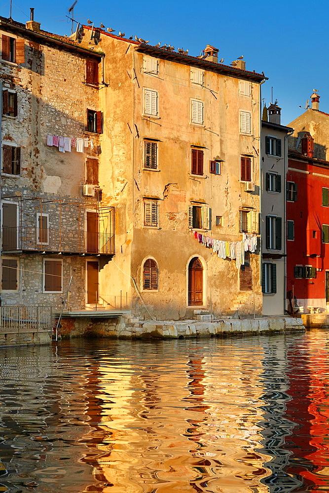 Croatia, Rovinj, seafront old houses, Istria, Croatia.