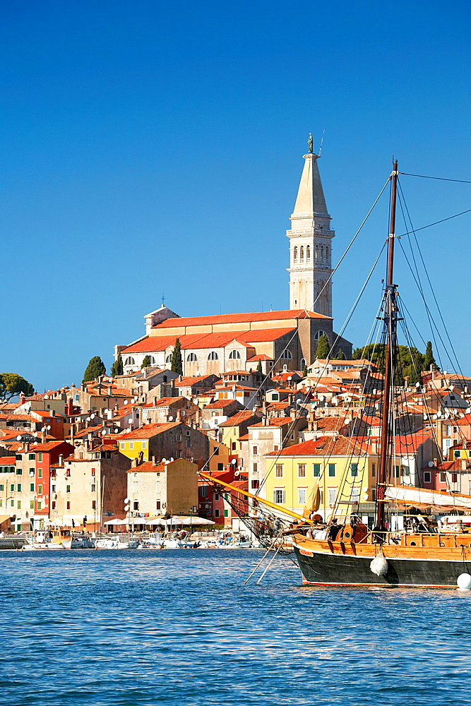 Croatia, Rovinj, view from the sea of harbor, Istria, Croatia.