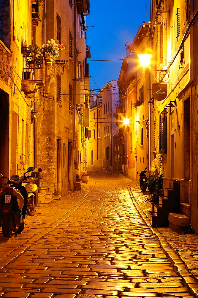 Croatia, Rovinj, street on the Old Town in Rovinj, Istria, Croatia.
