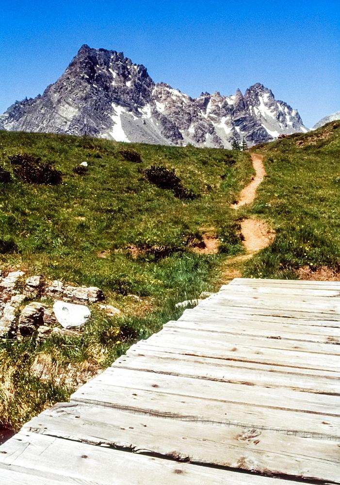 wooden walkway, Mount Cervandone, Alpe Devero, Piedmont, Italy