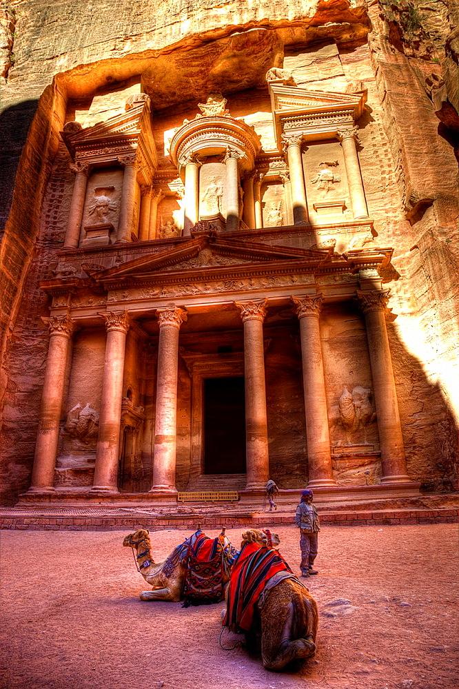 Treasury in petra ruins. jordan.