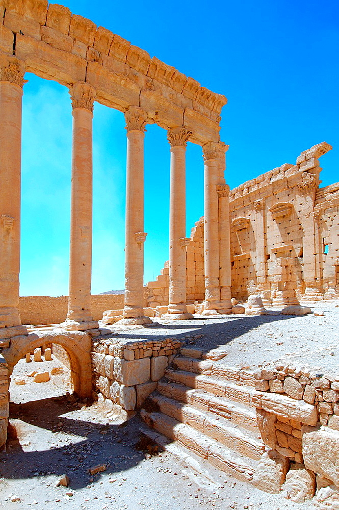 Ruins Temple of Bel in the ancient city of Palmyra, Syria.