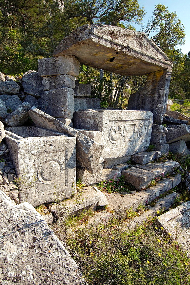 Lycian sarcophagus, Antique city of Termesos (Termessus) Taurus Mountain, Turkey, Western Asia.