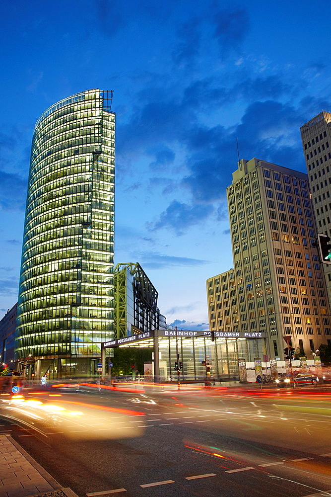 Potsdamer platz modern buildings and traffic at night, Berlin