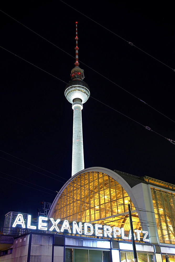 Tv tower in Alexanderplatz at night, Berlin, Germany