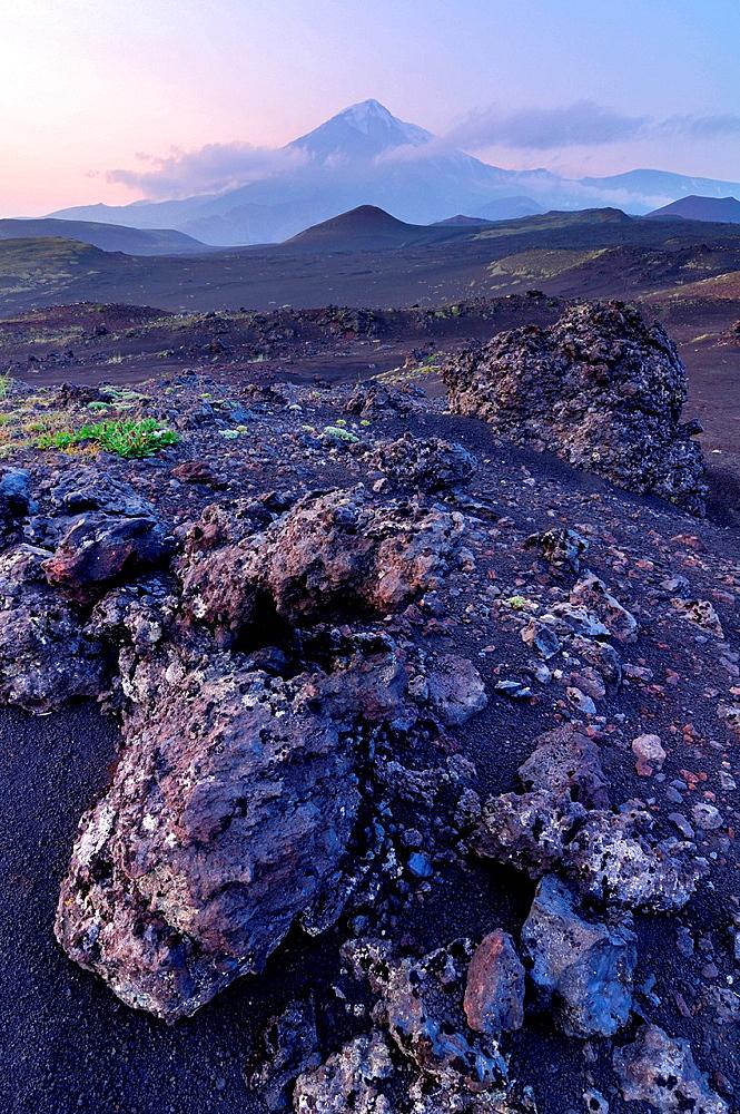 Lava field and Tolbachik Volcano, Kamchatka Peninsula, Russia