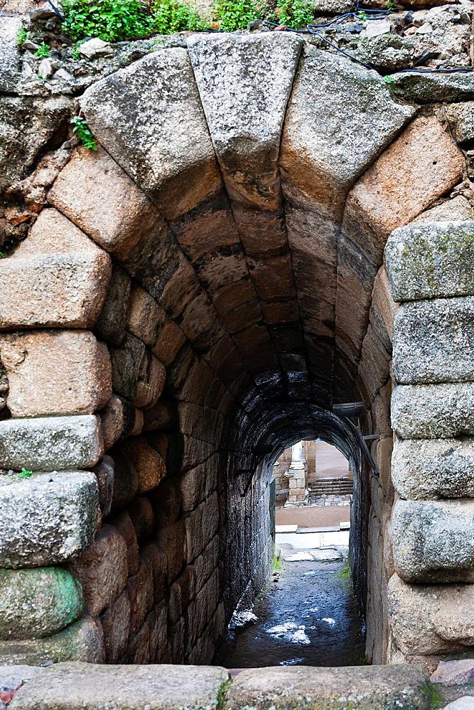 Amphitheater ruins in Merida. Badajoz. Extremadura. Spain.