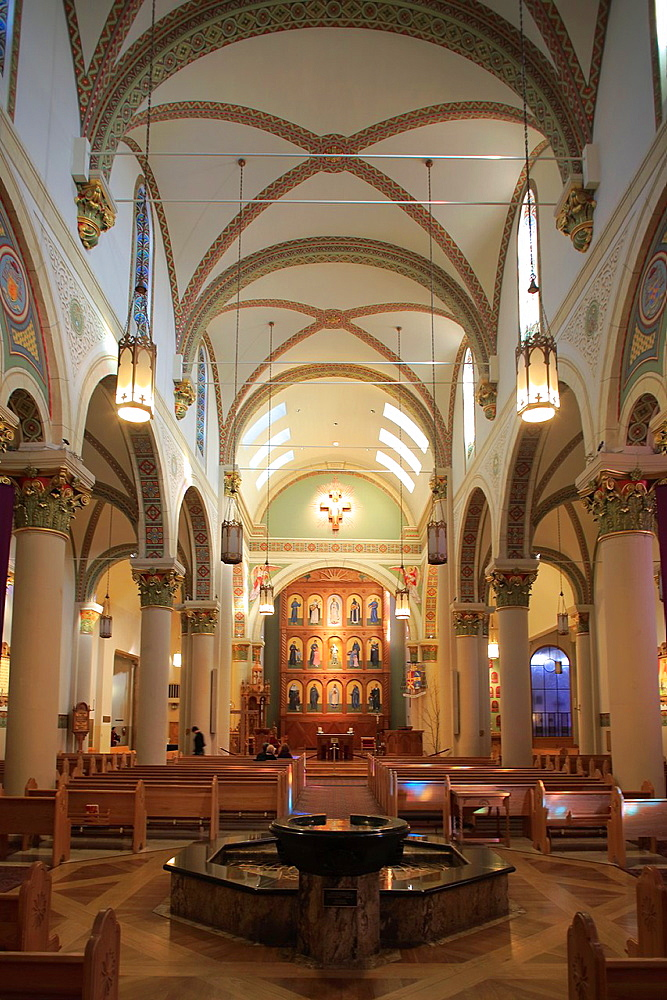 The interior view of the Cathedral Basilica of St. Francis of Assisi. Santa Fe. New Mexico. USA.