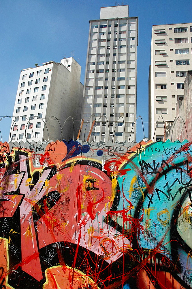 Sao Paulo, Brazil, graffiti and condos along the Rua Augusta