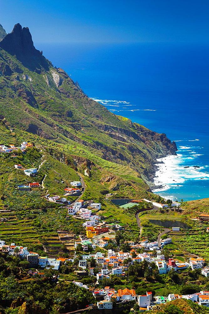 Taganaga village and cliffs. Santa Cruz de Tenerife, Tenerife, Canary Islands, Atlantic Ocean, Spain.