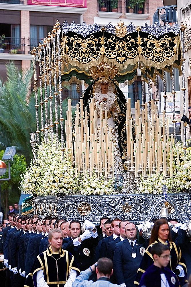 Brotherhood of the Virgen de la Esperanza in Holy week, Linares, Jaen province, Andalusia, Spain.