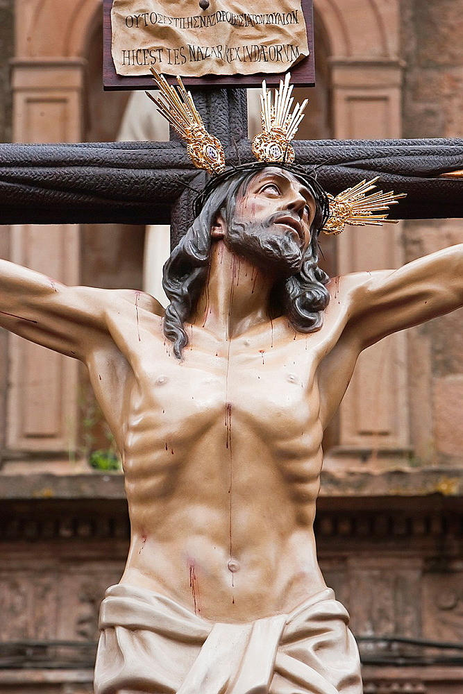 Figure of Jesus on the cross carved in wood by the sculptor Gabino Amaya Guerrero, Holy Christ of the expiry, Linares, Jaen province, Spain.