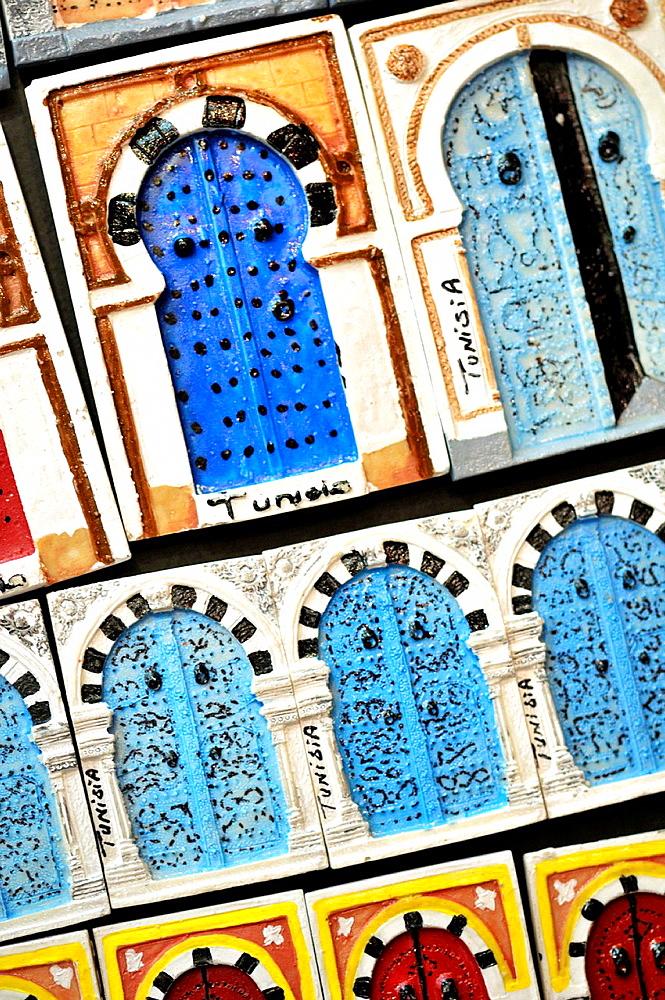 Souvenirs fridge magnets. Sidi Bou Said, town in northern of Tunisia
