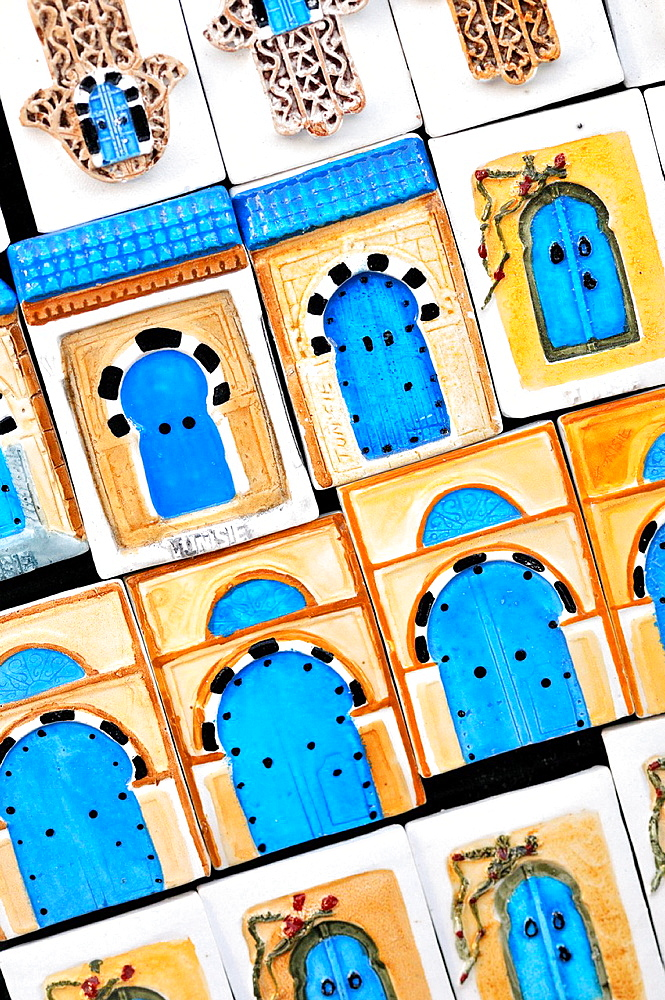 Souvenirs fridge magnets. Sidi Bou Said, town in northern of Tunisia.