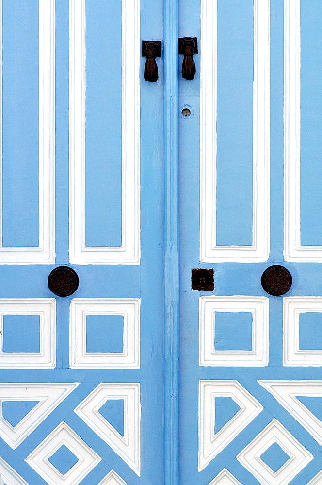 Door. Sidi Bou Said, town in northern of Tunisia.