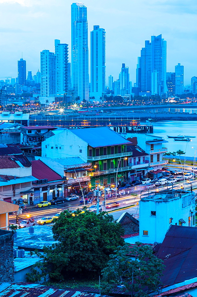 Skyline from Old Town, Panama City, Panama, Central America, America.