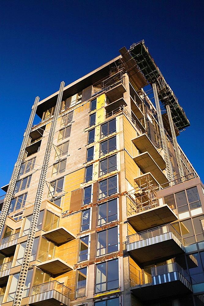 Unfinished residential condominium building, Old Montreal, Quebec, Canada.