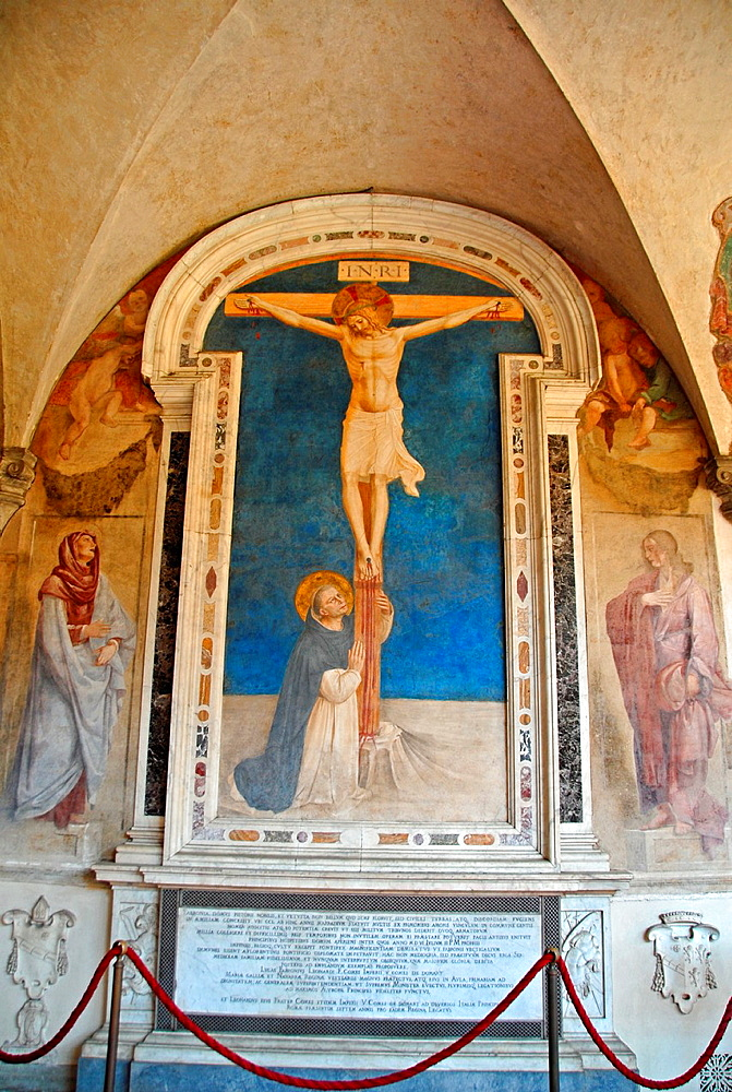 Saint Dominic Adoring the Crucifixion, painting by Fra Angelico. Convento di San Marco, Florence, Italy