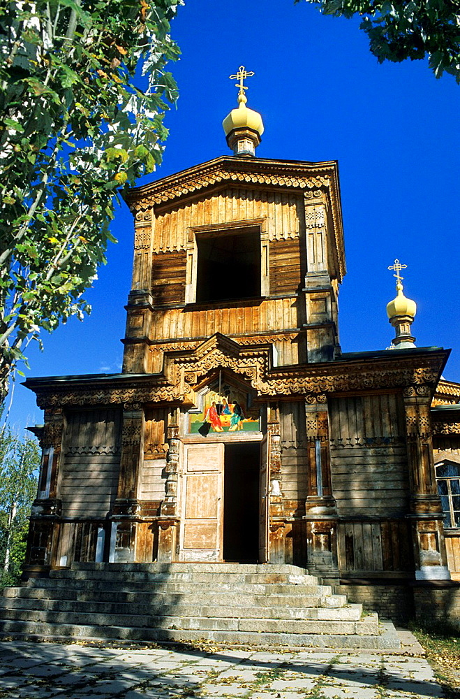 Karakol, Orthodox Church, Entrance, Wood and corrugated Iron Construction, Kyrgyzstan.