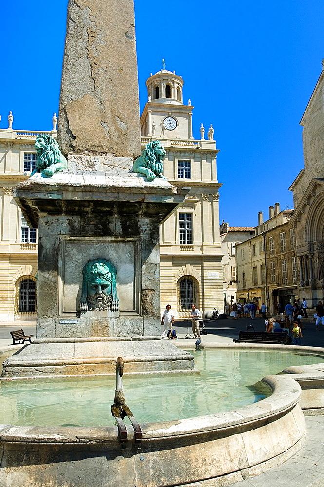 Arles, Fountain, Place de la Republique, Scenery, Provence, France.