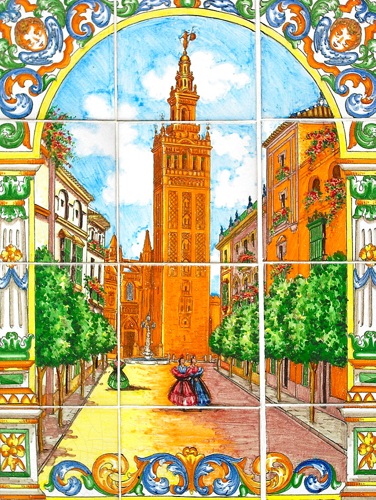 Sevilla (Spain). Mosaic of the Giralda in Seville.