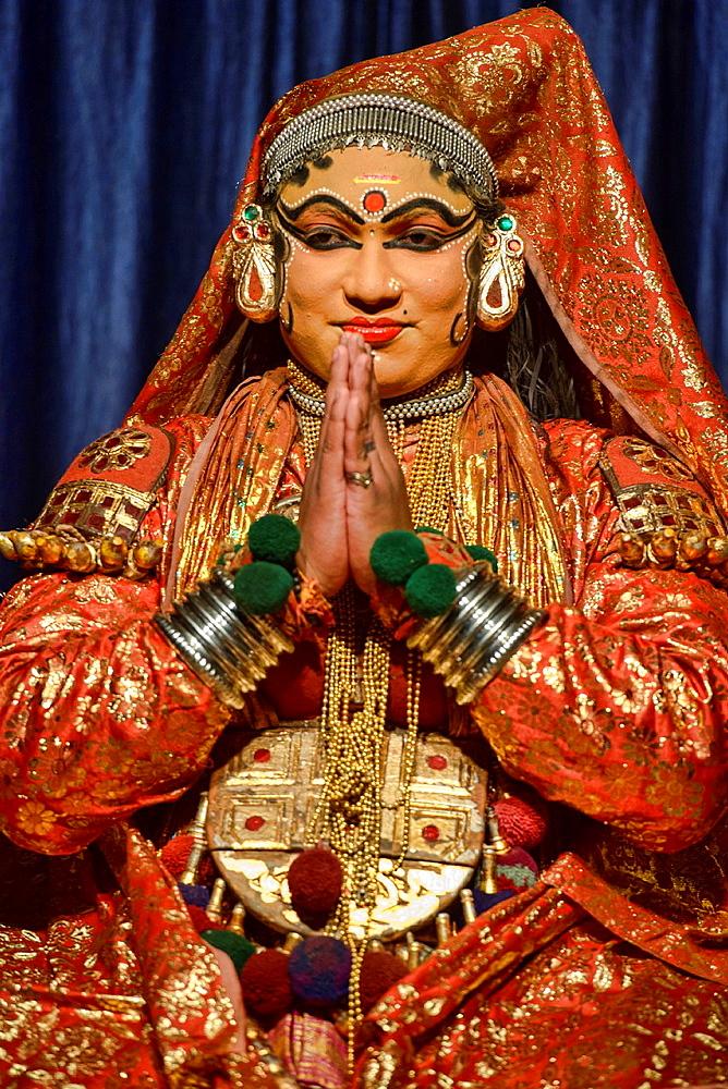 traditional Kathakali dance performer in Kerala, India.