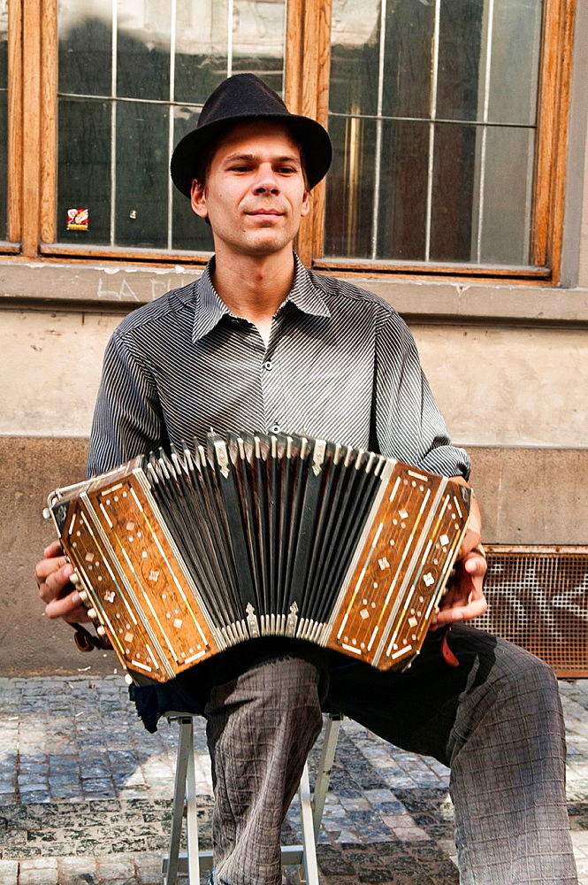 accordion player in the old town of Prague, Czech Republic