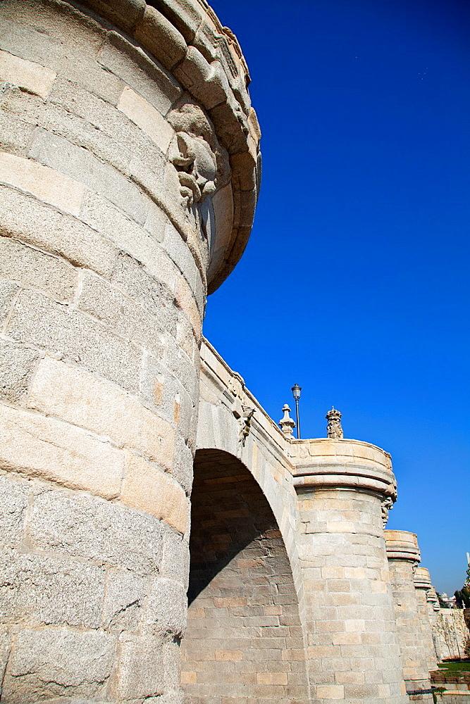 Puente de Toledo bridge in Manzanares river, Madrid, Spain. Madrid Rio is the last great ecological development in the city.