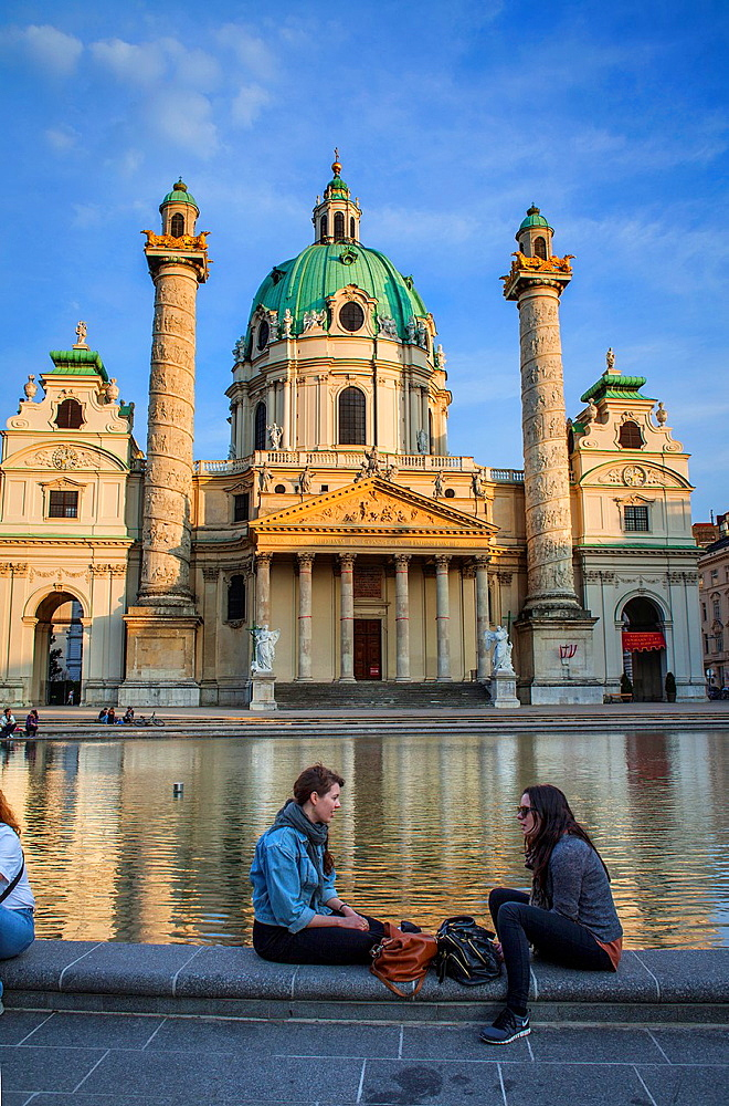Karlskirche, St. Charles Borromeo church by Fischer von Erlach in Karlsplatz, Vienna, Austria, Europe.