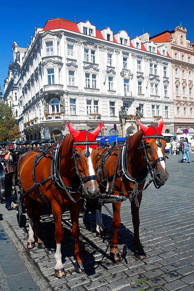Horses coach in Stare Mesto District, Prague, Czech Republic.
