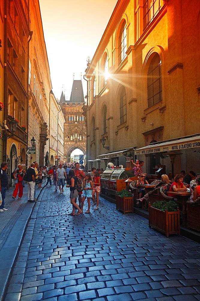 Street in Stare Mesto District, Prague, Czech Republic.