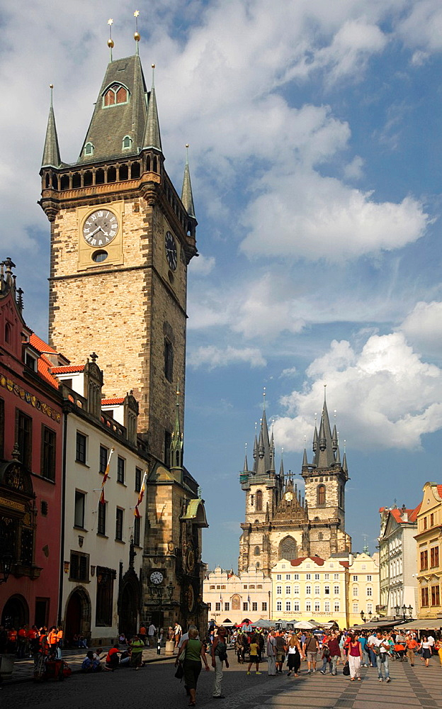 Tyn Church and the Astronomical Clock Tower, Prague, CZ.