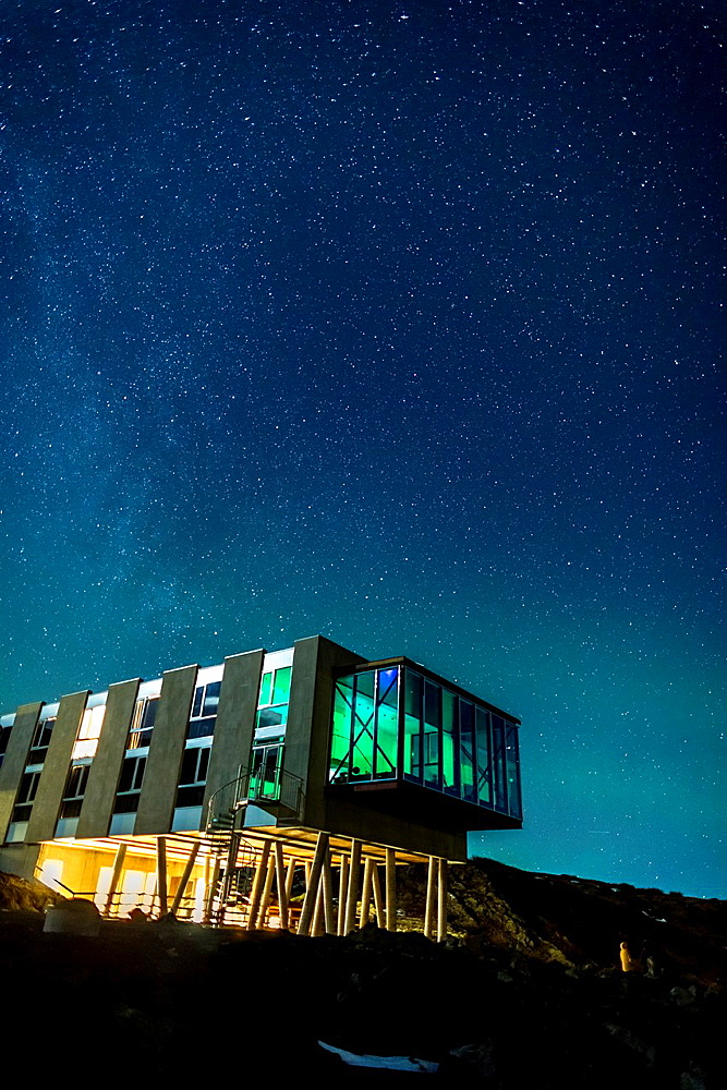 Starry night over Hotel ION, located by Nesjavellir Power Plant, Iceland.