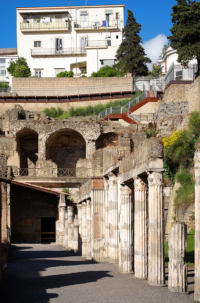 Row of Pillars in Herculaneum, Campania, Italy.