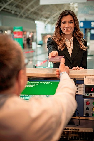 Businesswoman at airport check in area