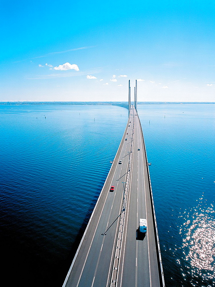 Traffic on Oresund Bridge from Denmark to Sweden, Europe