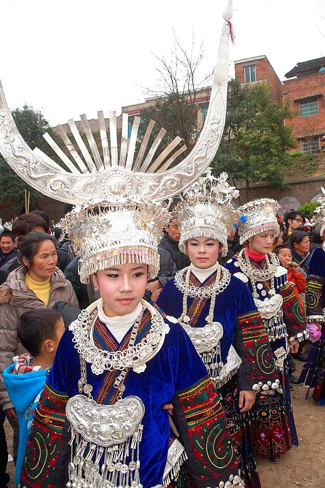 China, Guizhou province, Yatang town, Green Miao Lusheng festval.