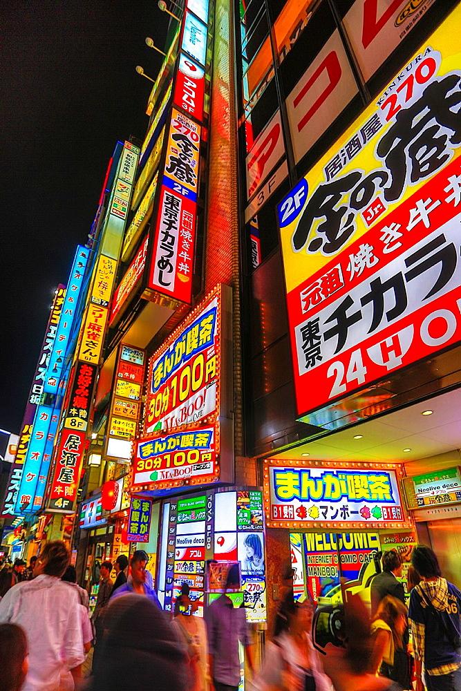 Japan, Tokyo City, Shinjuku District, Kabukicho neon signs