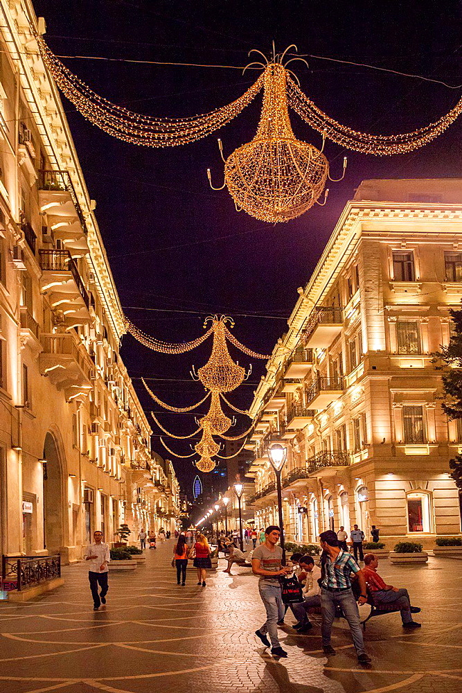 Azerbaijan, Baku City, Down Town, Nizami Shopping Street.