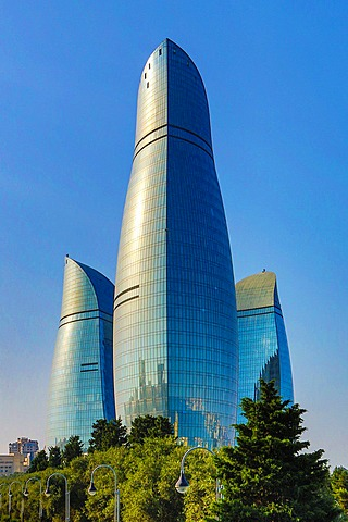 Azerbaijan, Baku City, The Flame Towers.