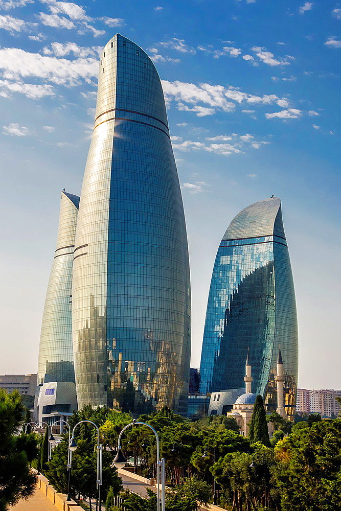 Azerbaijan, Baku City, Flame towers and Shakhidlar Mosque.