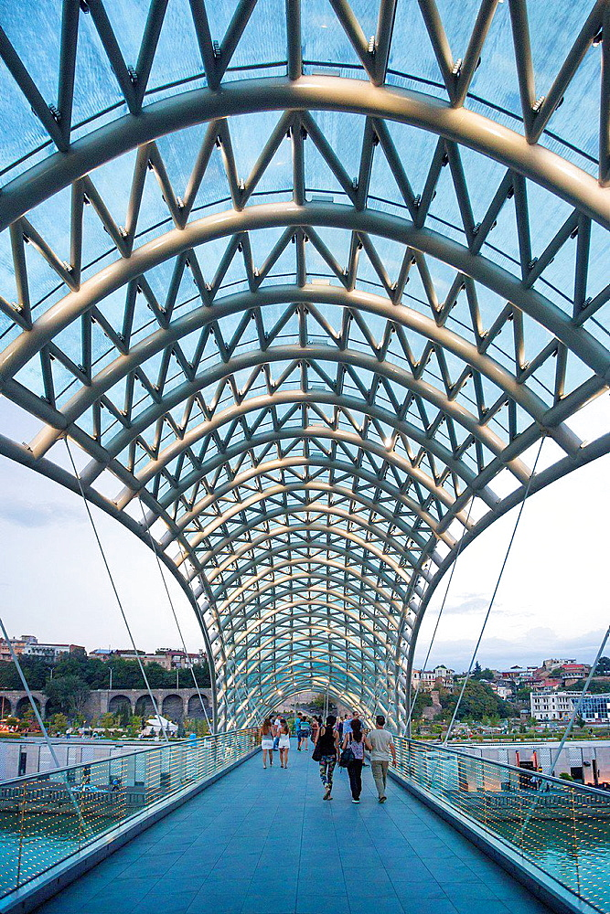 Georgia, Tbilisi City,The Peace Bridge.