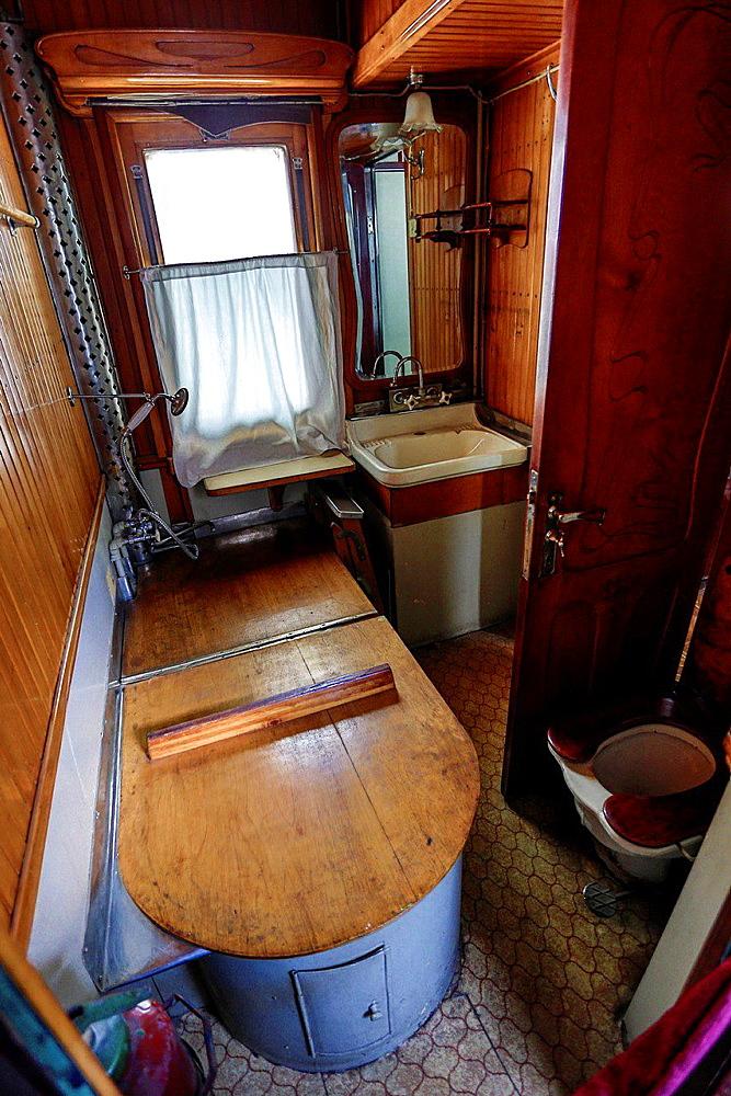 Georgia, Gori City, Stalin Museum, Batroom of the Stalin train coach.