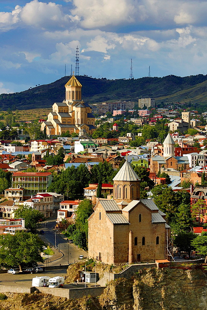 Metekhi Church and Sameba Cathedral, Tbilisi, Georgia