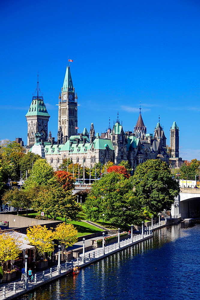 Canada , Ottawa City ,Parliament Hill, Central and East Blocka¥s towers , Rideau Canal.
